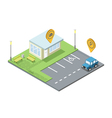 isometric set of parking place geo tag pin icon vector image