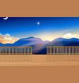 landscape wooden wooden walkway vector image vector image