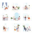men and women have a rest and work in cafe vector image vector image