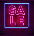 neon sale sign on dark wall background modern vector image vector image