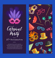 party invitation with masks and party vector image vector image