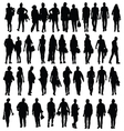 people walking silhouette black vector image vector image