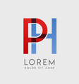 ph logo letters with blue and red gradation vector image vector image