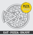 pizza hand drawn pizza pizza poster vector image vector image