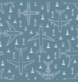 seamless pattern with airplanes and runway lights vector image