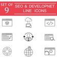 Seo and development icon set business signs