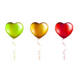 set colorful foil heart shaped balloons on vector image
