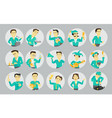 set different character avatars in circles vector image vector image