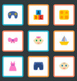 set of baby icons flat style symbols with baby boy vector image