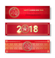 set of chinese new year banners in red color vector image
