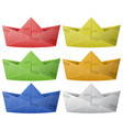 six paper boats in different colors vector image vector image