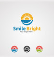 smile bright with circle sun logo icon element vector image vector image