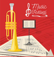 trumpet instrument with music sheets vector image vector image