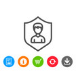 user protection line icon male profile sign vector image vector image