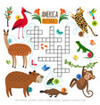 wild animals crossword puzzle vector image vector image