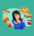 woman refusing fast food temptation vector image