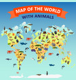 world map animal concept background cartoon style vector image
