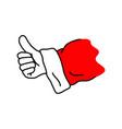 hand of santa claus showing thumb up vector image
