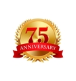 75 years anniversary golden label with ribbons vector image