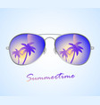 aviator sunglasses with palms reflection vector image vector image