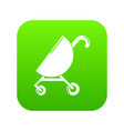 baby carriage pink icon green vector image vector image