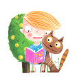 baby girl reading to cat vector image