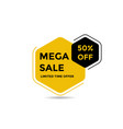 black and yellow mega sale banner vector image vector image