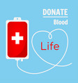 blood donation bag on blue background vector image vector image