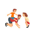boy riding on fathers back father son and vector image vector image