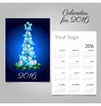 Calendar 2016 with modern Christmas tree vector image