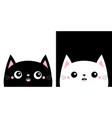 cat kitten kitty smiling icon set kawaii cartoon vector image vector image