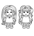 Colouring Page Of Two Baby Girls vector image