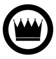 crown the black color icon in circle or round vector image vector image