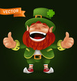 cute cartoon leprechaun character laughing and vector image vector image