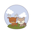 cute porcupine with reindeer in landscape vector image vector image