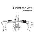 cyclist and bicycle top view black and white vector image