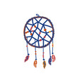 dream catcher with feathers boho style design vector image