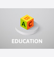 education isometric icon isolated on color vector image vector image