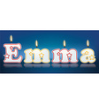 EMMA written with burning candles vector image vector image