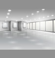 Empty gallery interior with light windows vector image vector image