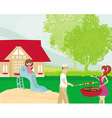Family having barbecue in the garden vector image vector image