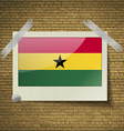 Flags Ghana at frame on a brick background vector image vector image