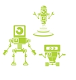Flat design style green robots and cyborgs vector image