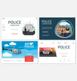 flat police websites collection vector image vector image