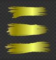 golden textured brush strokes set vector image