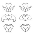 hand and heart icons vector image