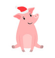 happy pink pig in santa hat vector image