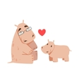 Hippo Dad With Glasses Animal Parent And Its Baby vector image vector image