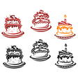 Holiday cakes and pies bakery vector image