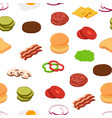 isometric burger ingredients pattern vector image